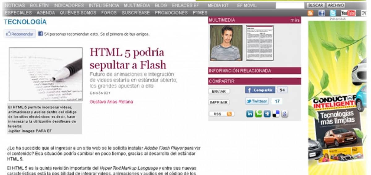 """""""HTML 5 podría sepultar a Flash"""". Colaboración de ZEWS."""