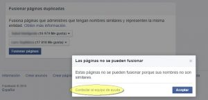 Fusionar páginas de Facebook