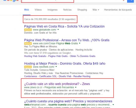 """Número 1 de 316.000.000 en """"cuanto vale un sitio web profesional"""""""