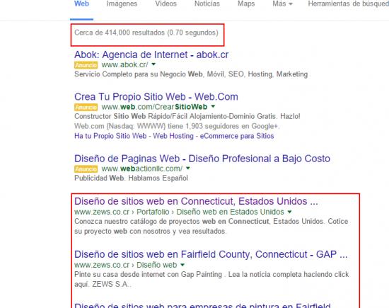 """Número 1, 2 y 3 de 414.000 en """"diseño de sitios web en connecticut"""""""