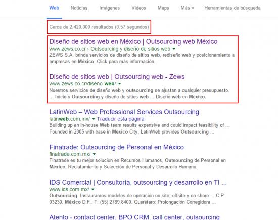 """Número 1 y 2 de 2,420,000 resultado para """"outsourcing web mexico"""""""
